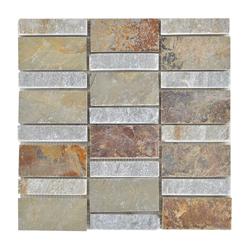 Mosaico de Piedra Gris Naranja 30.5x30.5cm