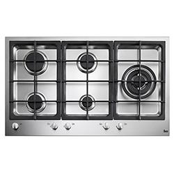 Cocina a Gas con 4 Quemadores + 1 Triple Llama de Acero Inoxidable de 87x52cm  Teka