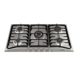 Cocina a Gas con  4 Quemadores +  1 Triple Llama de Acero Inoxidable de 86x50cm  Mastermaid
