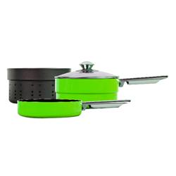 Sartenes Glanford Verde con Evaporador Apilable 4 Piezas