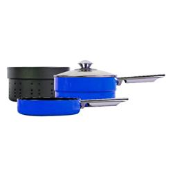 Sartenes Glanford Azul con Evaporador Apilable 4 Piezas