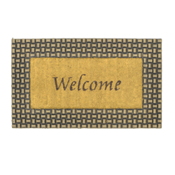 Alfombra Diseño de Welcome Oro Negro para Piso Exterior 75x45 cm