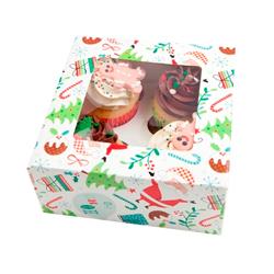Caja Jolly Santa para 4 Cupcake en Set de 2 Piezas Daisy Darcy