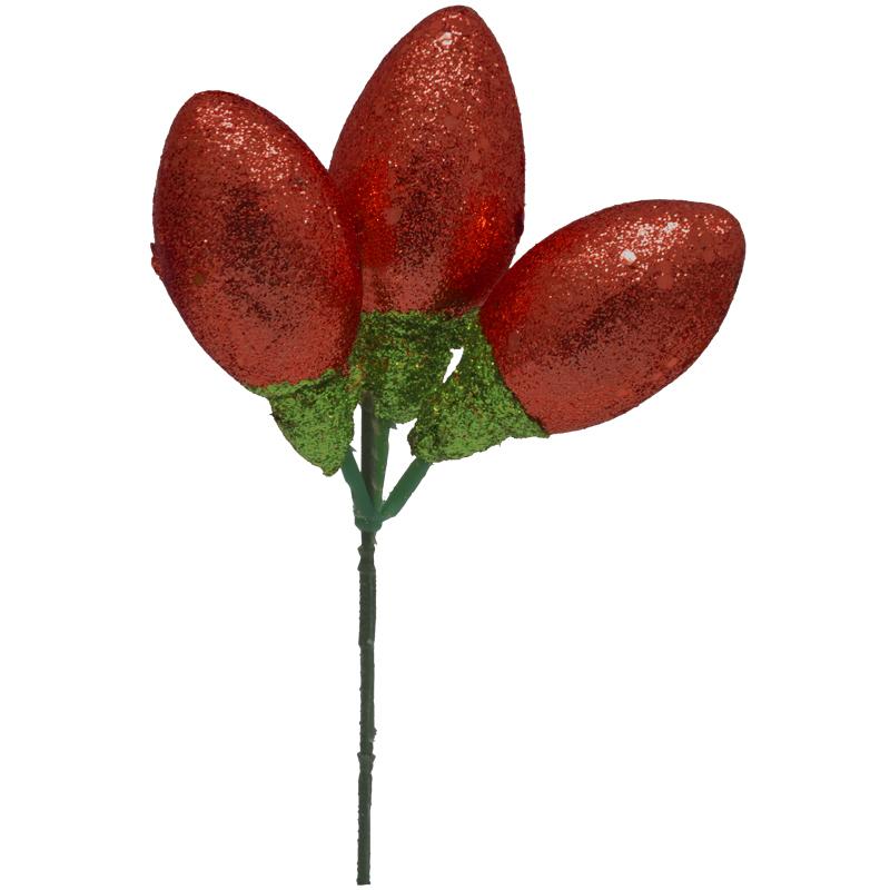Pick Navideños Focos Rojo 20cm