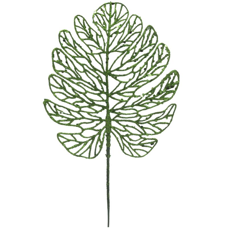 Rama   Navideña Hoja Verde 19cm
