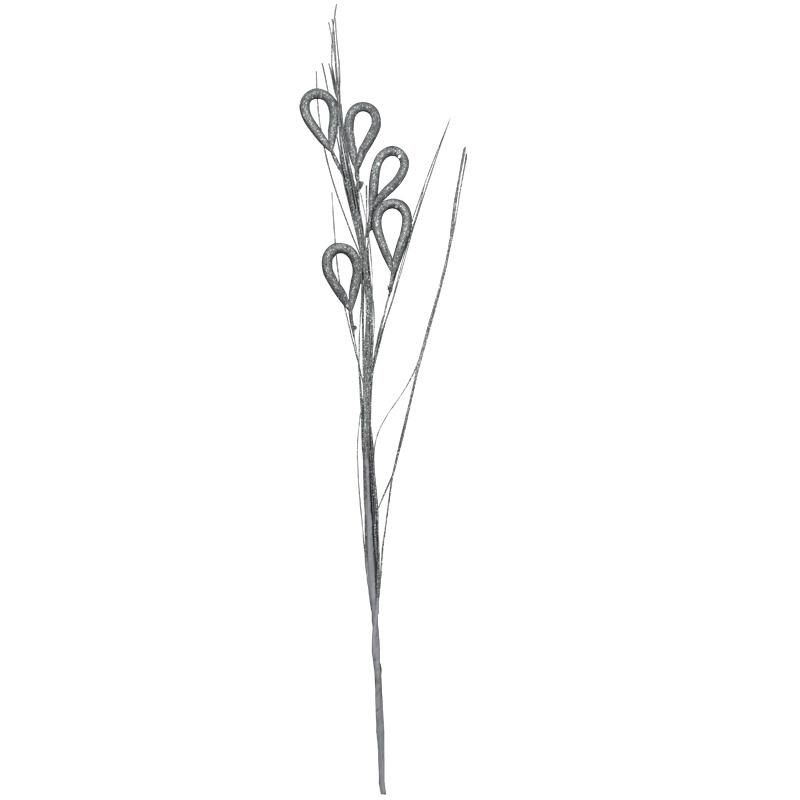 Pick   Navideño de Flores Plateadas de 95cm