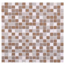 Mosaico de Cristal Mármol Mini Café Beige  30x30cm
