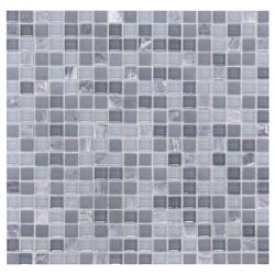 Mosaico de Cristal Mármol Mini Negro   Gris 30x30cm