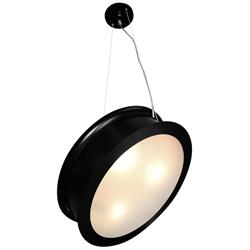Lámpara Colgante Negra con Doble Pantalla y 3 Boquillas