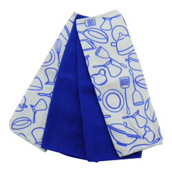 Toalla de Cocina Pots Azul  en Set de 4 Piezas Casserina