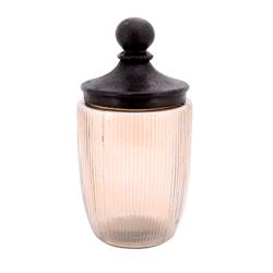 Envase de Vidrio Ámbar con Tapa Bronce Antiguo