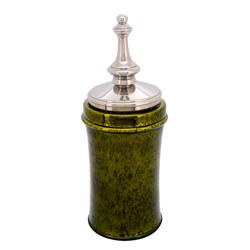 Envase de Vidrio Verde  con Tapa Cromada