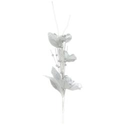 Flor Navideña Blanca Plateada 90cm