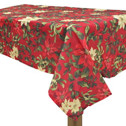 Mantel de Lino Rojo Ponsetia Navideño