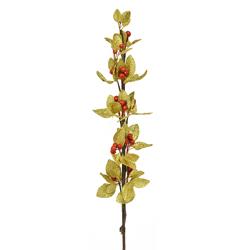 Rama Hojas Cerezos Oro Rojo 80cm