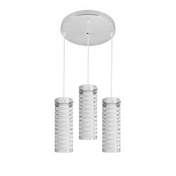 Lámpara Colgante Cilíndrica Transparente con 3 Boquilla