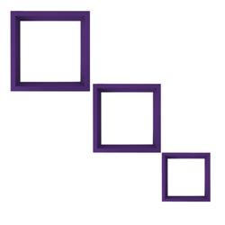 Repisas Cuadradas Lila  para Pared en Set de 3 Piezas