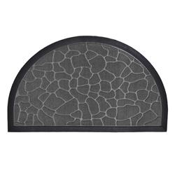 Alfombra  Semicircular de Caucho Piedra Gris 75x45cm
