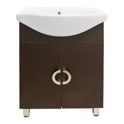 Mueble Wengue de 2 Puertas con Lavamanos Blanco 84x62cm