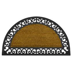Alfombra de Piso Semicircular de Caucho y Yute Exterior 75x45cm