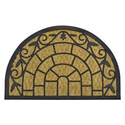 Alfombra de Piso Semicircular de Caucho y Yute Exterior 75x50cm