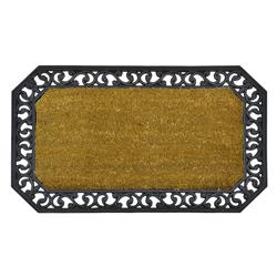 Alfombra de Piso con Diseño Decorativo Calado de Caucho y Yute 45x75cm