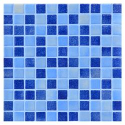 Mosaico de Vidrio Niebla  Mix Azul  31.5x31.5cm (0.9)