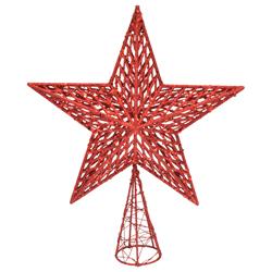 Punta de Árbol Estrella 30cm Roja Velvet Bliss