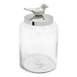 Envase de Vidrio con Pájaro Decorativo
