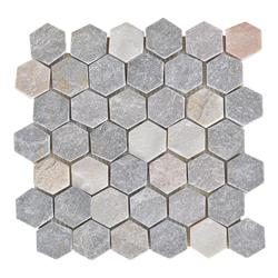Mosaico Piedra Hexa Gris Beige  30.5x30.5cm