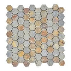 Mosaico Piedra Mini Hexa Óxido 30.5x30.5cm