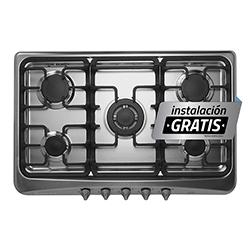 Cocina a Gas con 5 Quemadores Acero Inoxidable de 80X51cm Indurama
