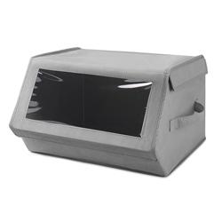 Caja Organizadora Gris con Tapa Transparente