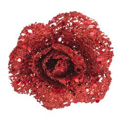 Rosa Decorativa Roja  Escarchada