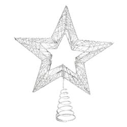 Punta de Árbol Estrella Calada Plata  30cm