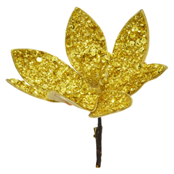 Flor con Clip Escarchada con  Lentejuelas  Oro