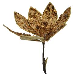 Flor con Clip Escarchada con Lentejuelas Cobre