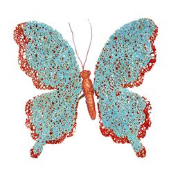Mariposa Escarchada con Clip Azul Burgundy 18cm