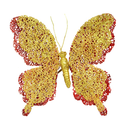 Mariposa Escarchada con Clip  Rojo Oro 18cm