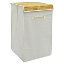 Cesto Plegable con Tapa Bamboo para Ropa Home Basic