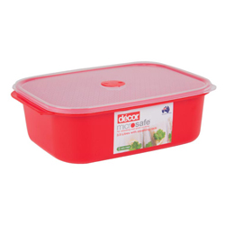 Contenedor Rojo con Tapa Transparente y Rejilla a Vapor  para Microondas Decor