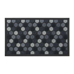 Alfombra de Caucho Diseño Exagonal Negro Gris 75x45cm