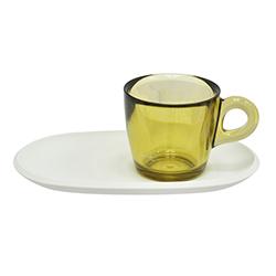 Taza Café para Café con Bandeja Blanca 4 Piezas Omada