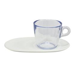 Taza Transparente para Té con Bandeja Blanca 4 Piezas Omada