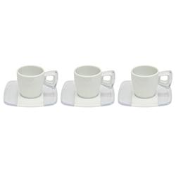 Taza Blanca Transparente con Plato para Espresso en Set de 12 Piezas Omada