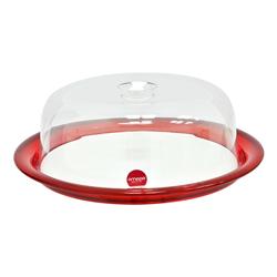 Porta Torta Rojo con Tapa Transparente Omada