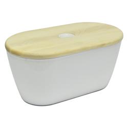 Panera Blanca con Tapa de Madera Omada