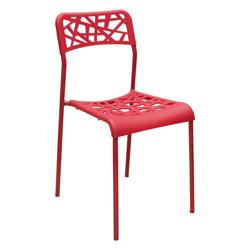 Silla Plástica Apilable Calada Roja