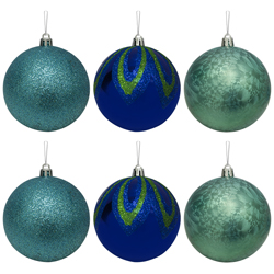 Bola Navideña Xmas Teal Azul Verde de 6 Piezas
