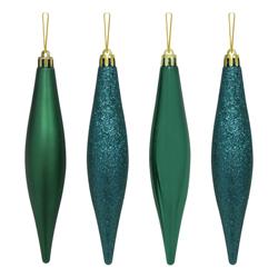Gota Navideña Verde Teal en Set de 4 Piezas de 15cm
